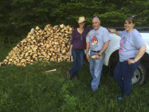 Atlanta, Scott & Danielle got stuck stacking wood. Literally stuck, sap all over the place
