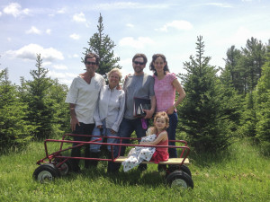 "Two of the founders of the farm, Rich & Karlene with us and Willow sitting in a ""tree limo"""