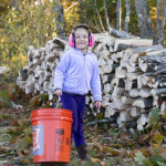 Willow helped stack wood & collect kindling