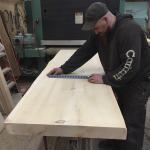 Cutting a white pine slab for counter tops