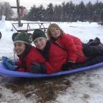 Break from wagon wrangling for some sledding